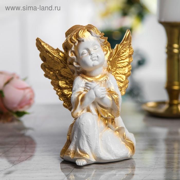 """Сувенир """"Ангел сидящий"""" малый, белый с золотом"""