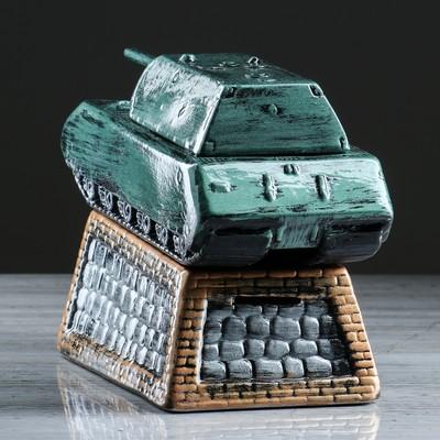 """Копилка """"Танк Maus"""", на подставке, зелёная, 19 см"""