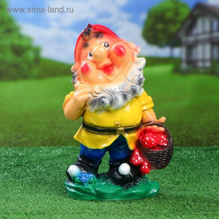 """Садовая фигура """"Гном с корзинкой"""" жёлтая одежда"""