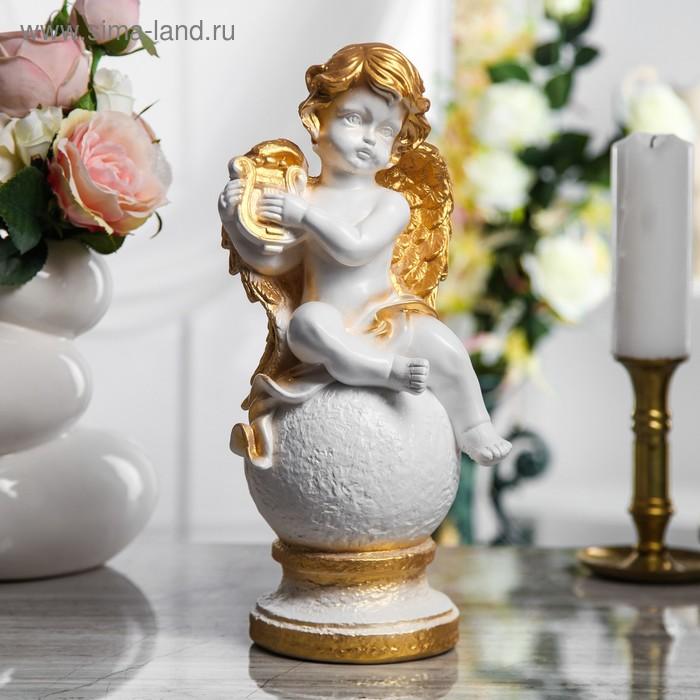 "Статуэтка ""Ангел на шаре"" белый с бронзой"