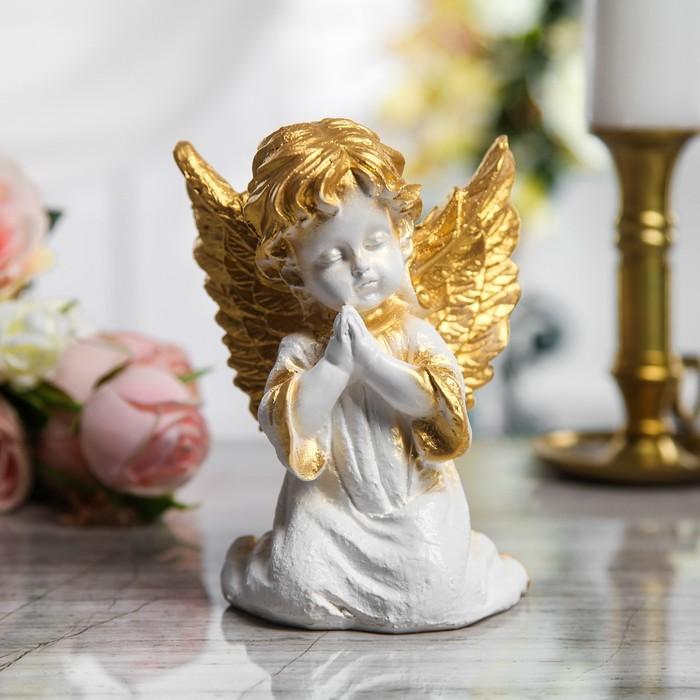 """Сувенир """"Ангел молящийся"""" малый, белый с золотым"""