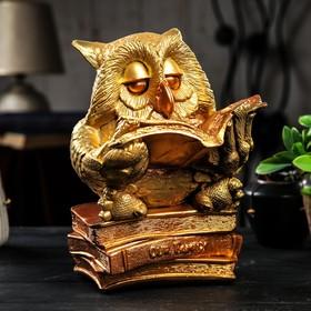 """Копилка """"Сова на книгнах"""", золотистый цвет, 27 см,"""
