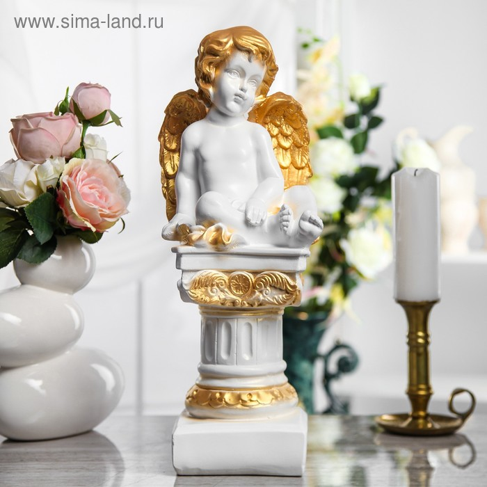 "Статуэтка ""Ангел на колонне"" белый, золото"