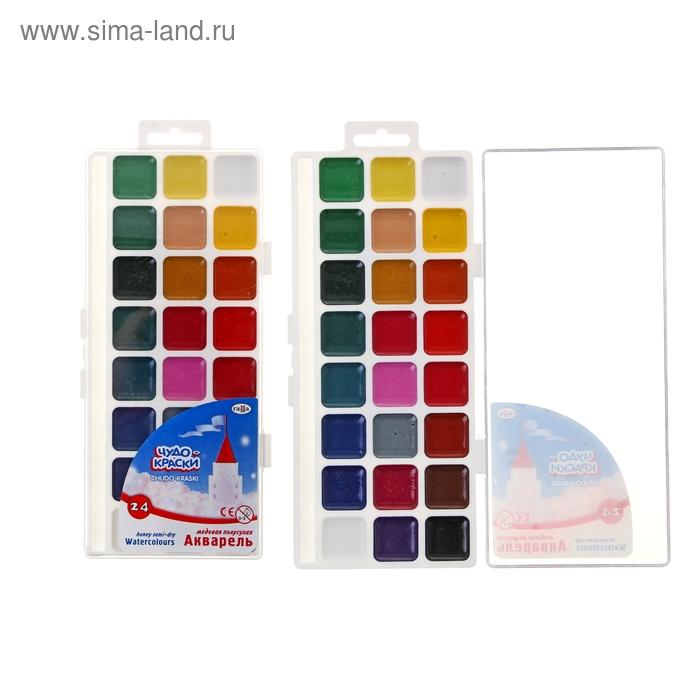 Акварель «Гамма ЧУДО-КРАСКИ», 24 цвета, в пластиковой коробке, без кисти