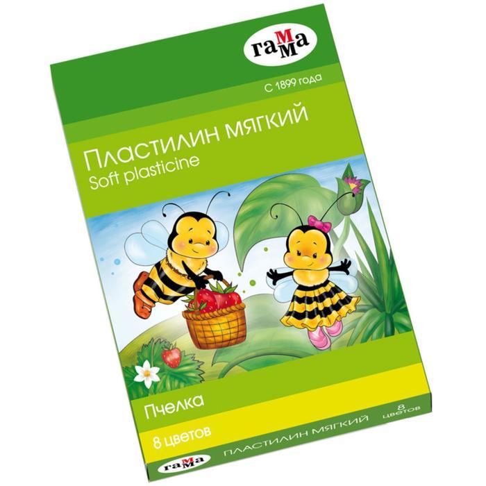 Пластилин мягкий (восковой) «Пчёлка», 8 цветов 120 г, «Гамма»