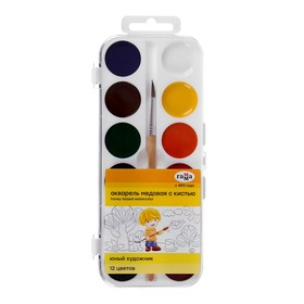 """Watercolor """"Gamma"""", """"Young Artist"""", 12 colors, in a plastic box, with a brush"""