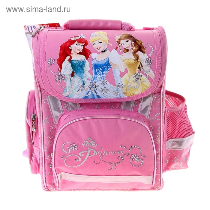 """Ранец стандарт Disney """"Принцесса"""" эргономичная спинка, для девочки, розовый"""
