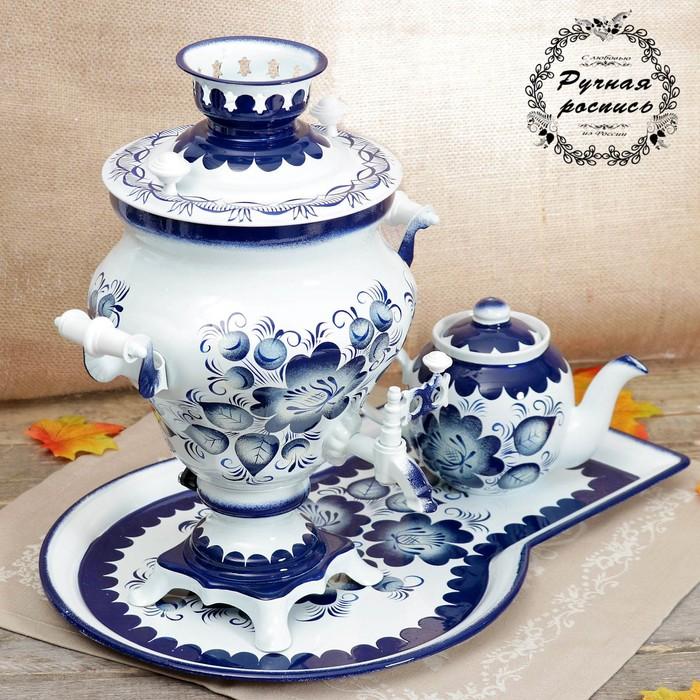 Набор «Гжель тёмная», ваза, 3 предмета, самовар 3 л, заварочный чайник 0,7 л, поднос