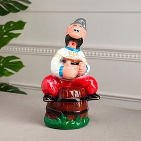 """Копилка """"Мужик на бочке"""", глянец, разноцветная, 31 см"""