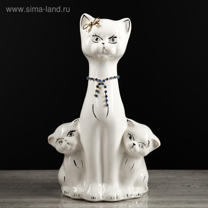 """Копилка """"Кошка с котятами"""" глянец, белая"""