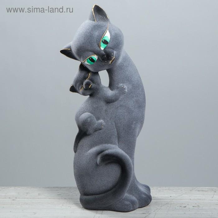 "Копилка ""Кошка Саманта с котёнком"" флок, серая"