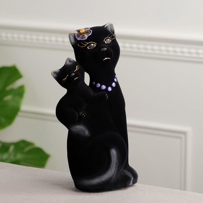 """Копилка """"Кошка Сьюзи с котёнком"""" флок, чёрная"""