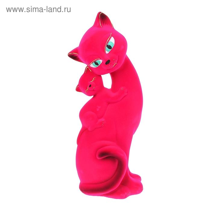 "Копилка ""Кошка Саманта с котёнком"" флок, розовая"