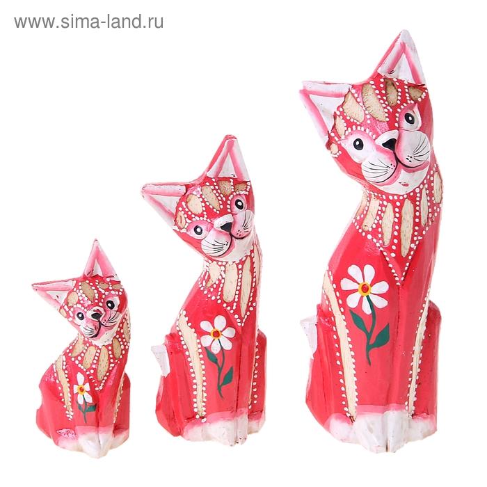 """Набор кошек сувенирных """"Красные коты с цветочком"""", 3 шт"""