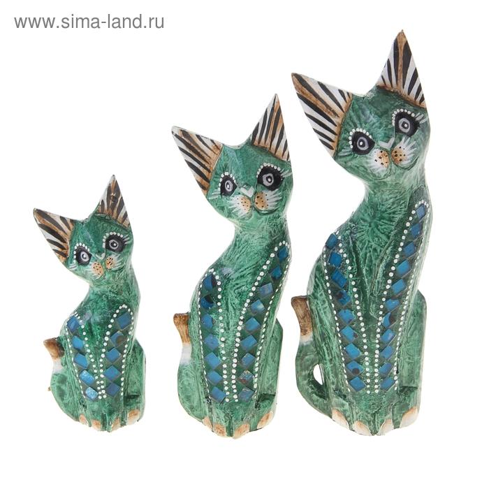 """Набор кошек сувенирных """"Зелёные кошечки"""", 3 шт"""
