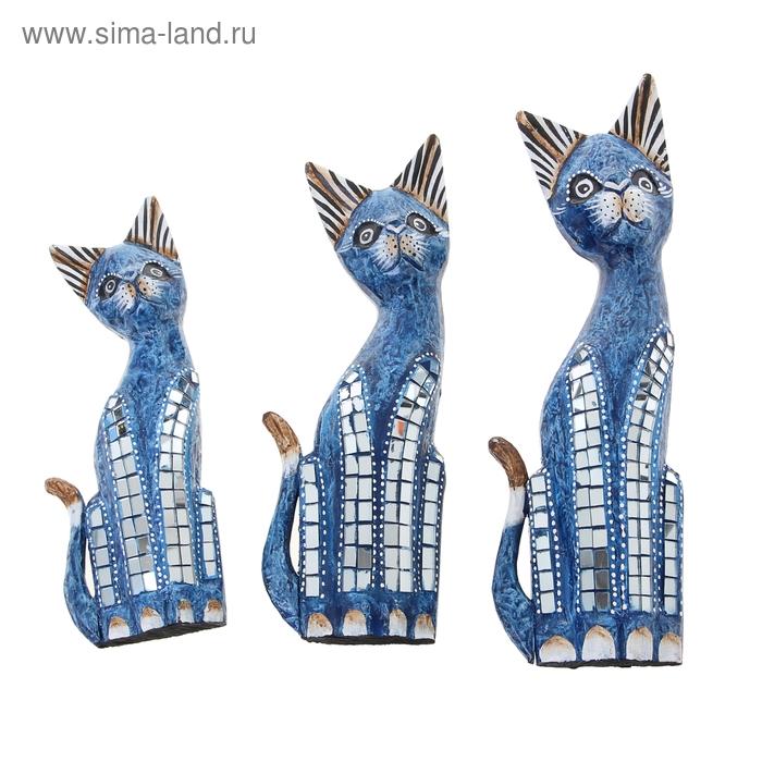 """Набор кошек сувенирных """"Синие кошечки"""", 3 шт"""