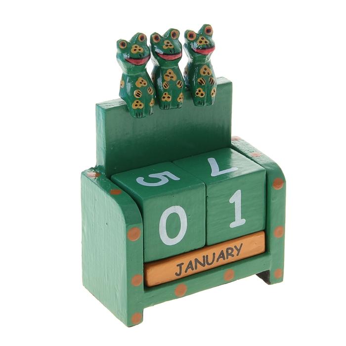 """Деревянный календарь с кубиками """"Три лягушонка"""", зелёный"""