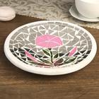 "Набор тарелок декоративных ""Розовые цветы"", 2 шт.,21х21х5;28,5х28,5х7 см"