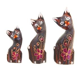 """Набор кошек сувенирных """"Кошки с красными ушками"""", 3 шт., МИКС - фото 1700801"""