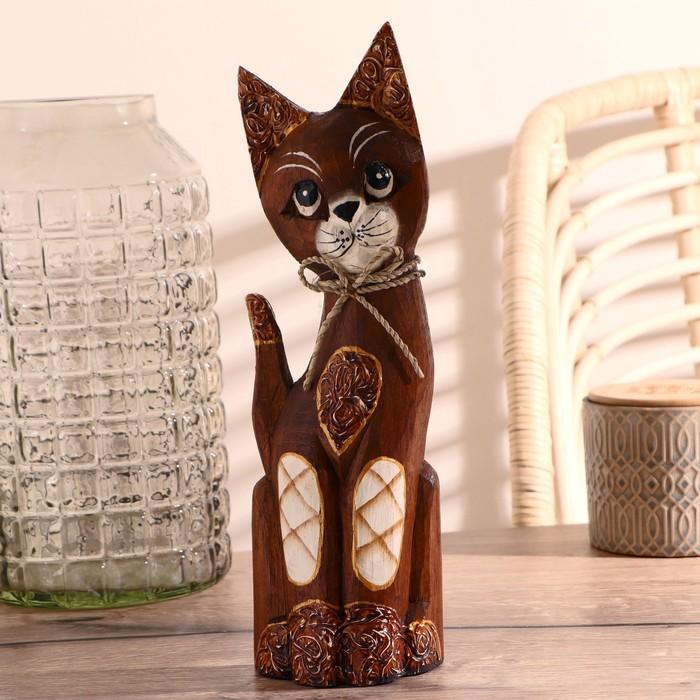 """Сувенир """"Котёнок с бантиком и резными ушками"""", 30 см"""