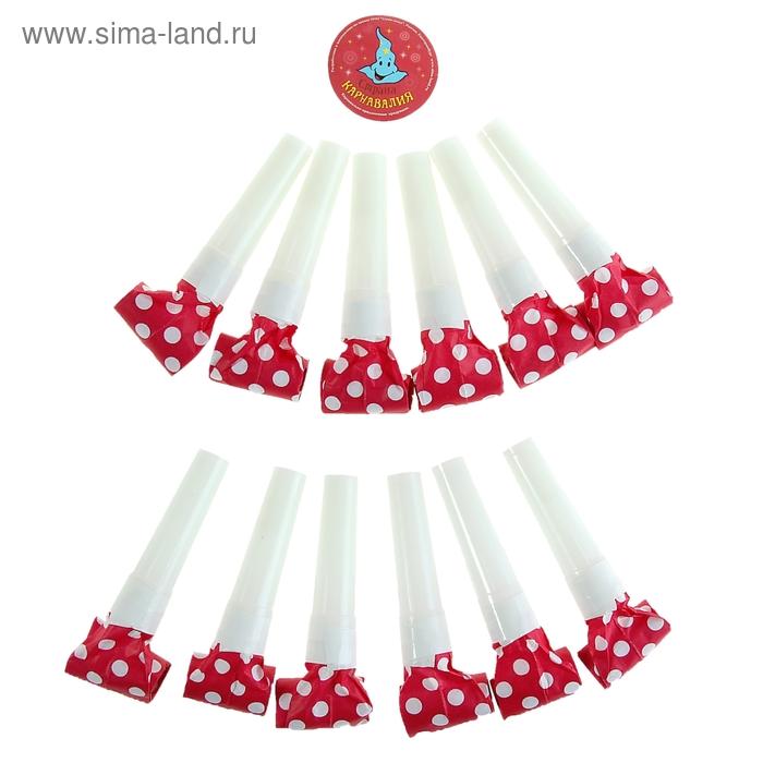 Язычек в горошек (набор 12 шт), цвет: красный