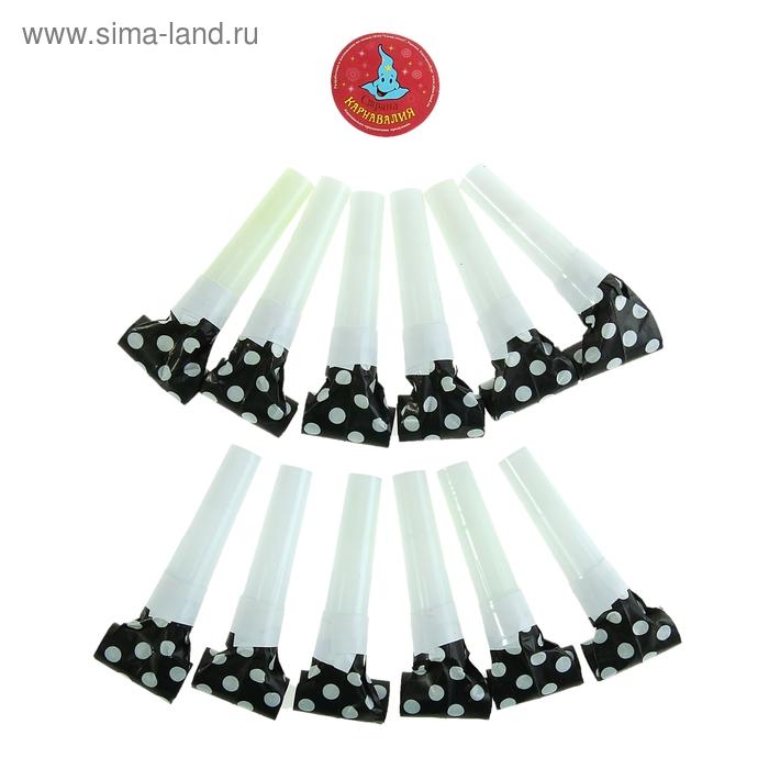 Язычок в горошек ( набор 12шт) цвет черный