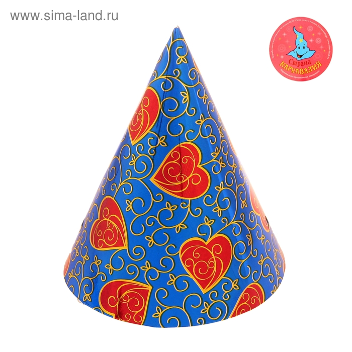 """Карнавальный колпак голография (набор 6 шт) """"Узорные сердца"""""""
