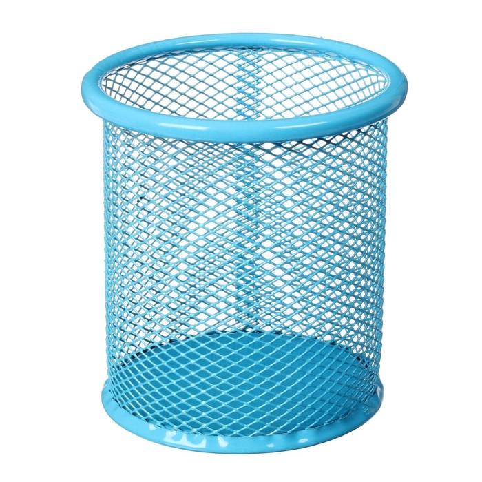 Стакан д/ручек круглый сетка мет синий