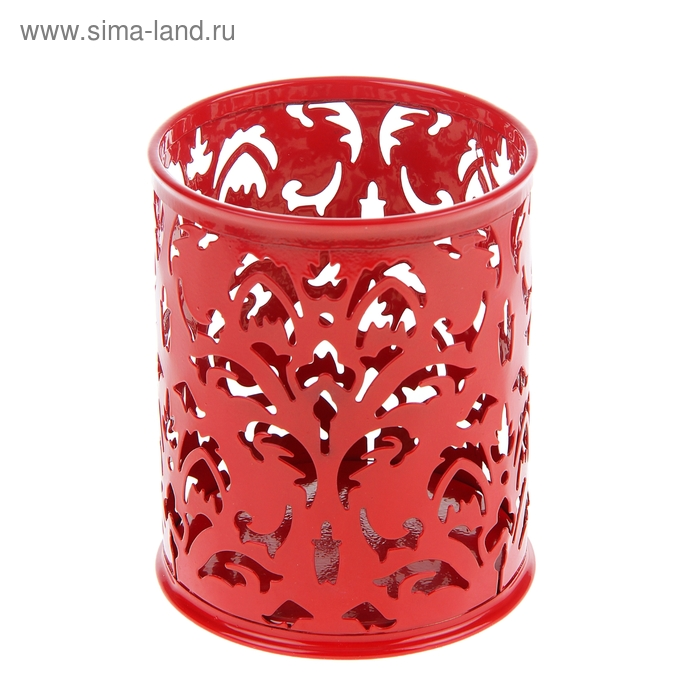 Стакан для пишущих принадлежностей круглый узор металл красный