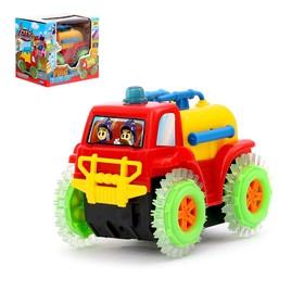 """Машина-перевёртыш """"Пожарная охрана"""", работает от батареек, цвета МИКС"""