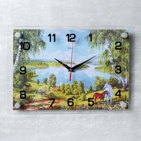 """Часы настенные, серия: Природа, """"Кони"""", 25х35  см, микс"""