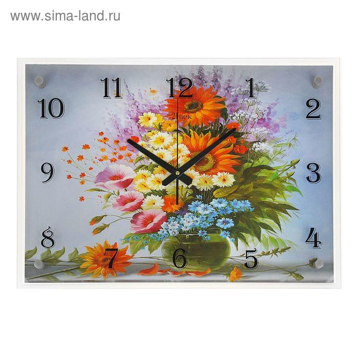 """Часы настенные прямоугольные """"Букет цветов в вазе"""", 40х56 см"""