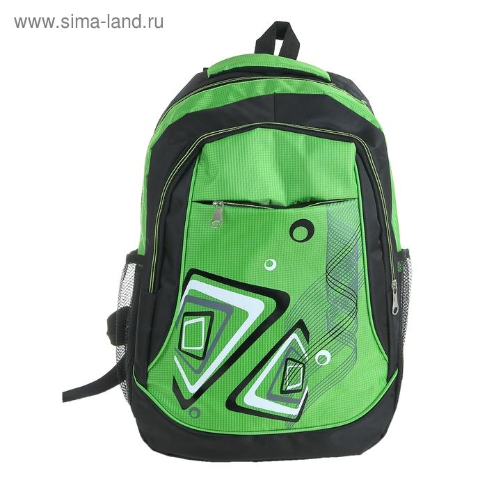 """Рюкзак молодёжный """"Фэнтези"""", 1 отдел, 2 наружных и 2 боковых кармана, усиленная спинка, цвет чёрно-зеленый"""