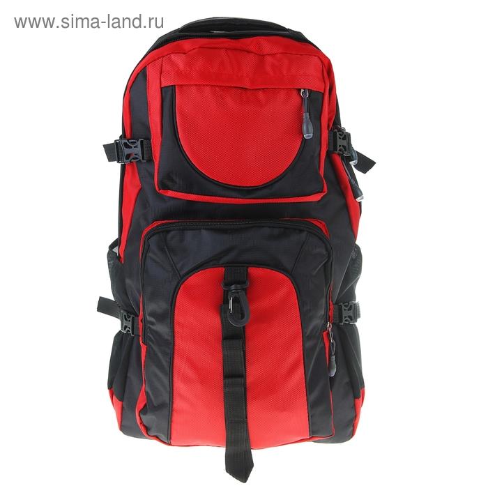 """Рюкзак туристический """"Турист"""", 1 отдел, 2 наружных и 2 боковых кармана, усиленная спинка, объём - 34л, красный/чёрный"""