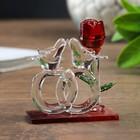 """Сувенир """"Обручальные кольца с голубями и розой"""""""