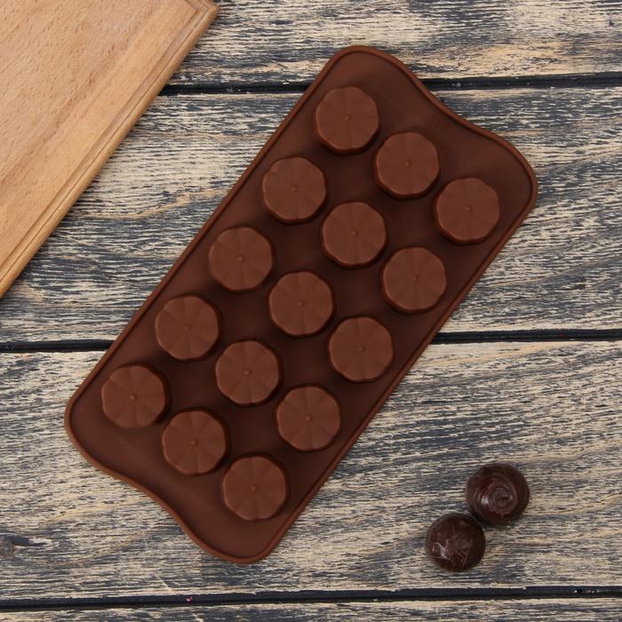 "Форма для льда и шоколада, 15 ячеек, 20х10х2 см ""Цветочки"", цвета МИКС"