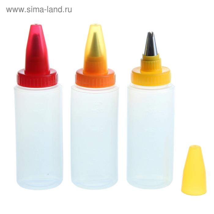 Бутылочки для декорирования с металлической насадкой, 3 шт