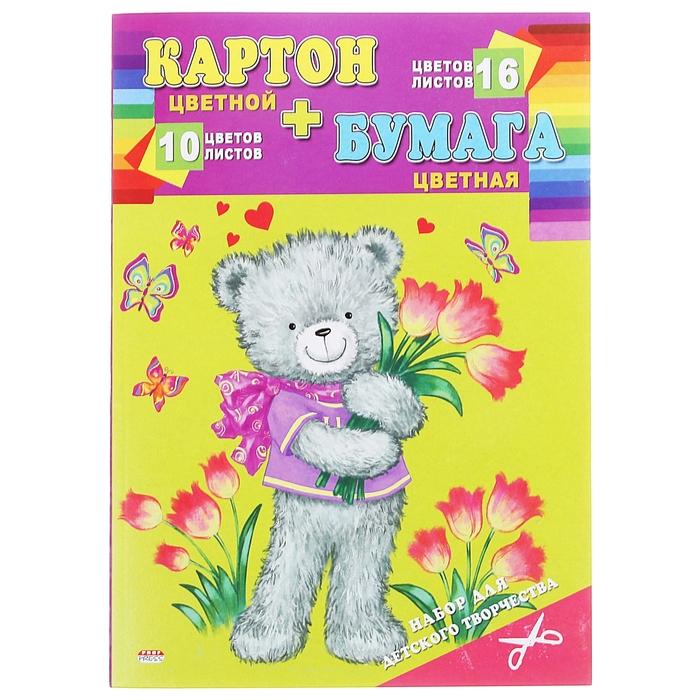 """Набор А4 """"Мишка с цветами"""": цветная бумага (16 листов, 16 цветов), цветной картон (10 листов, 10 цветов)"""