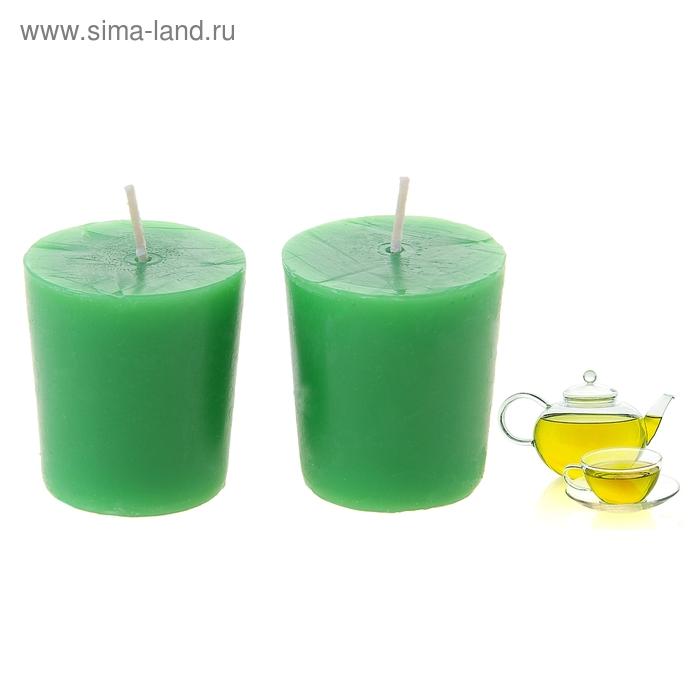 """Свечи восковые (набор 2 шт) """"Столбик"""", аромат зелёный чай"""