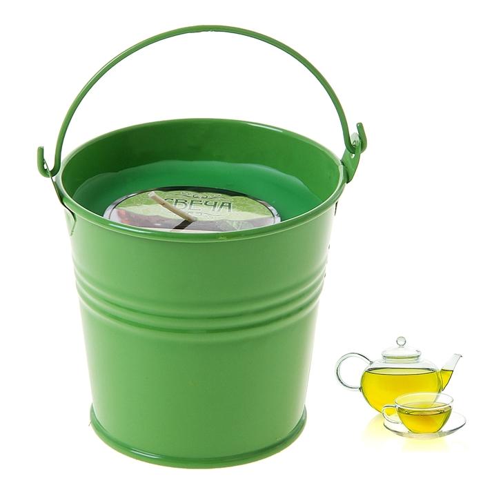 """Свеча восковая """"Ведёрко"""", аромат зелёный чай"""