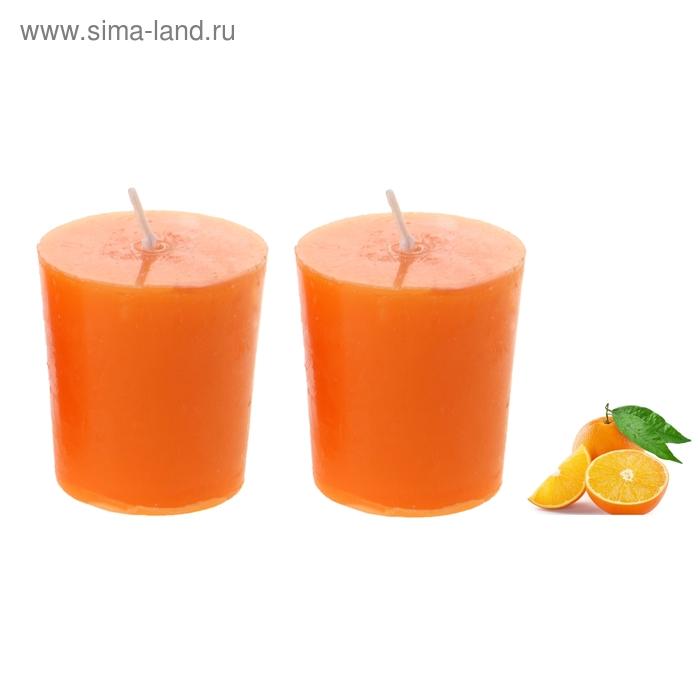"""Свечи восковые (набор 2 шт) """"Столбик"""", аромат апельсин"""