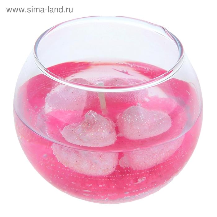 """Свеча гелевая """"Сердца"""", цвет розовый"""