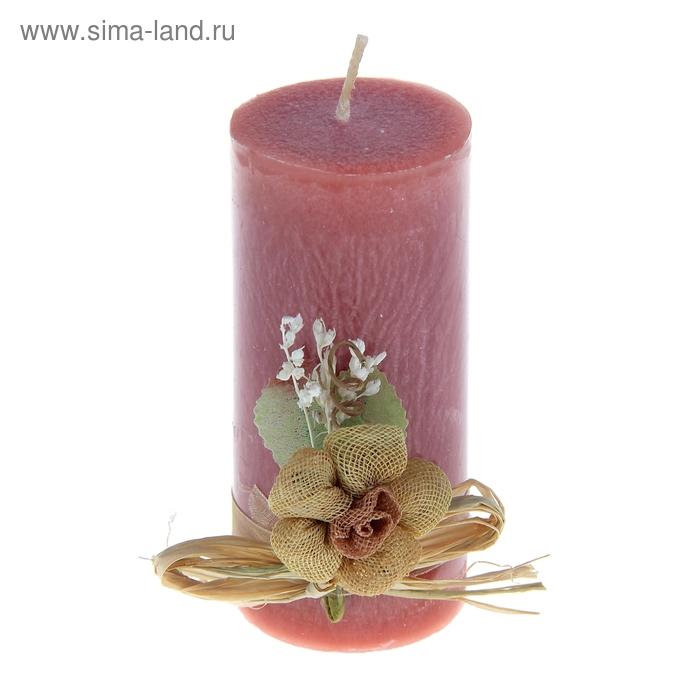 """Свеча восковая с декором """"Цветок"""", цвет розовый"""
