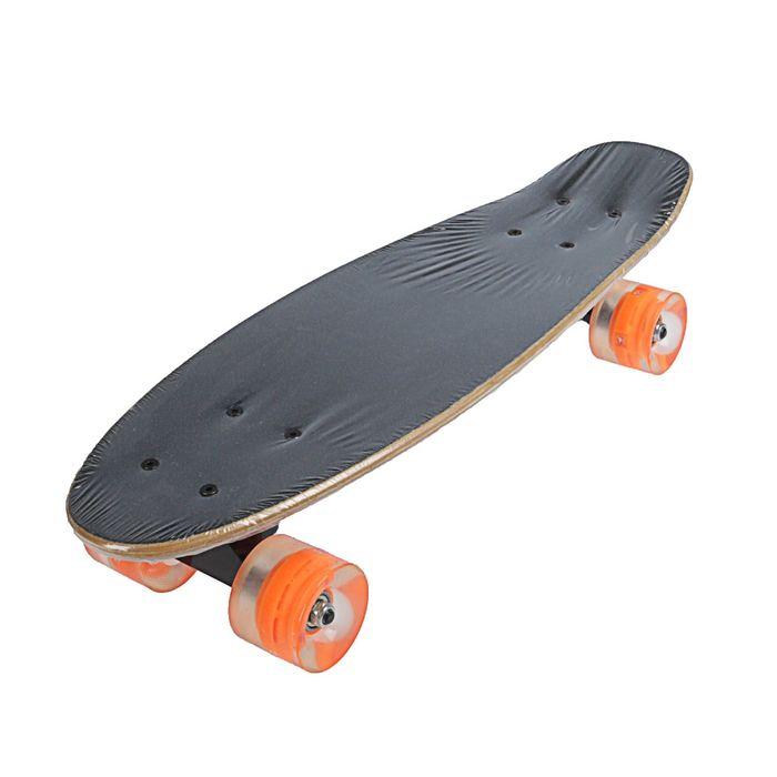 Скейтборд с разноцветными колёсами, PU d= 57*45 мм, алюминиевая рама, МИКС