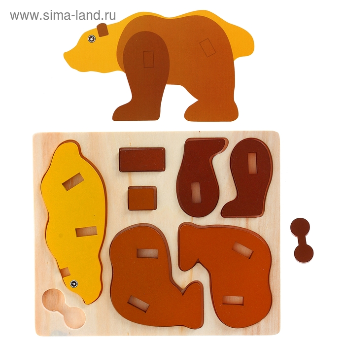 """Конструктор 3Д на деревянном основании """"Белый медведь"""""""