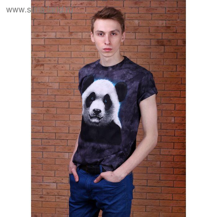 Футболка мужская Collorista 3D Panda, размер XXL (52), цвет чёрный