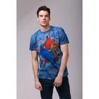Футболка мужская Collorista 3D Parrot, размер M (46), цвет синий