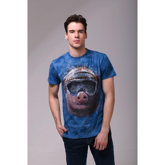 Футболка мужская Collorista 3D Pig, размер XL (50), цвет синий