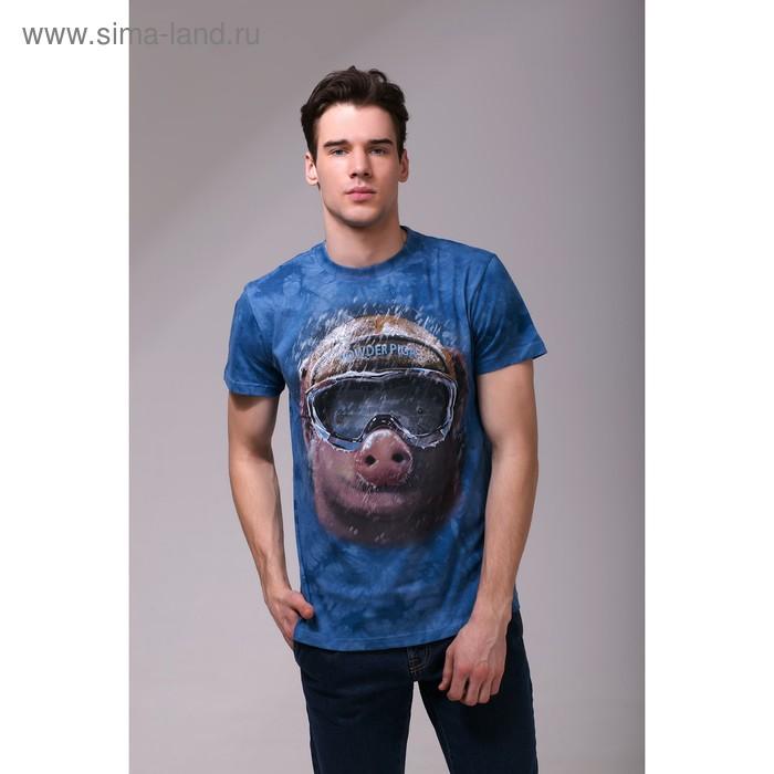 Футболка мужская Collorista 3D Pig, размер L (48), цвет синий