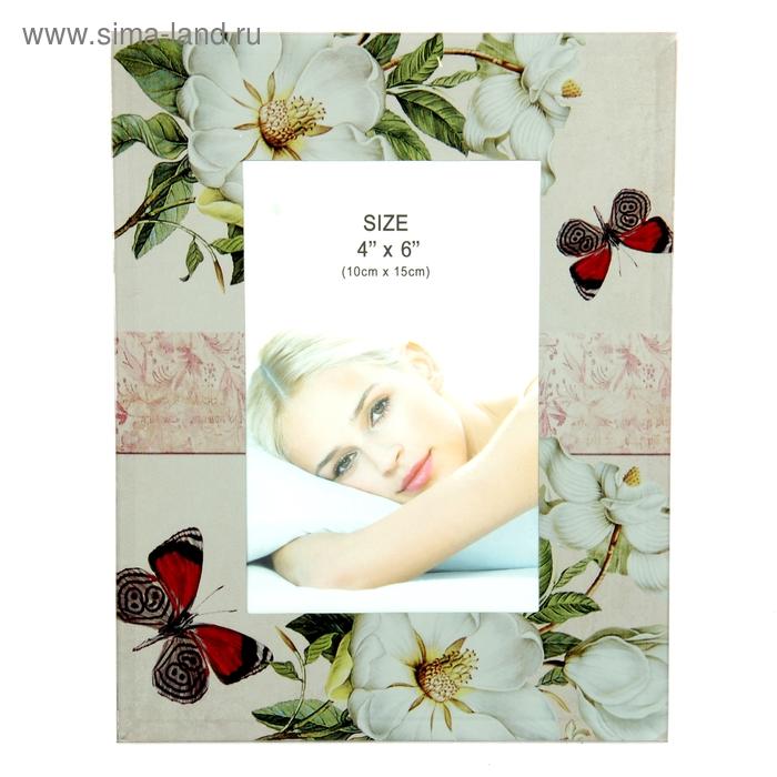 "Фоторамка ""Белые цветы"" серебристая, 10х15 см"